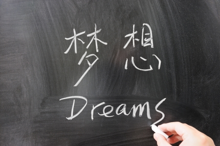 sand writing: Dreams word in Chinese and English written on the chalkboard