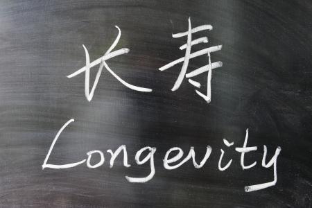 中国語と英語と黒板に書かれた長寿単語