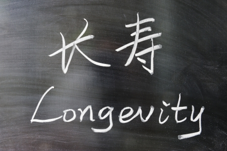 Longevity word in Chinese and English written on the chalkboard
