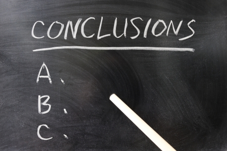 conclusion: List of conclusions written on the chalkboard