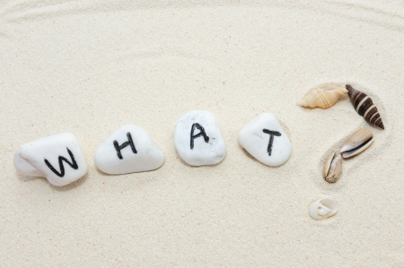sea mark: What word on group of stones and question mark made of shells  with sand background