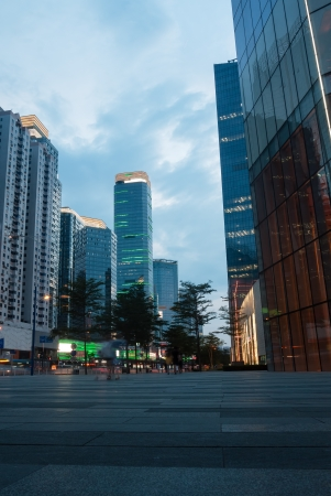 guangdong: Modern commercial buildings in Tianhe district, Guangzhou city, Guangdong province, China Stock Photo