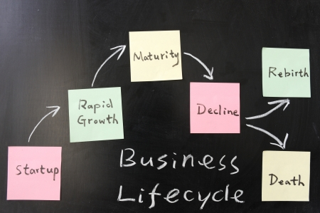 rebirth: Business lifecycle  concept on blackboard