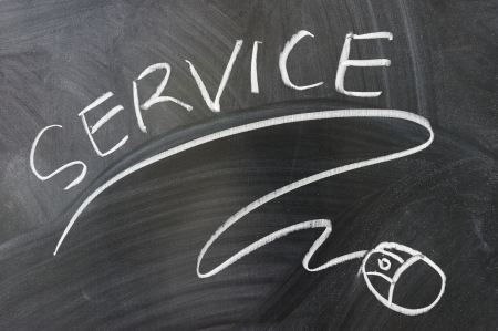 Service words and mouse symbol drawn on the blackboard Stock Photo - 14478186