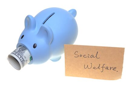 banking problems: Piggy bank for social welfare concept photo isolated on white background