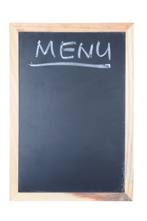 Menu word written on chalkboard with wooden frame isolated on white Stock Photo - 14478171