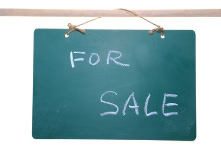 For sale sign on chalkboard isolated on white background Stock Photo - 14478138