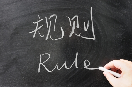 normative: Bilingual rule word in Chinese and English written on the blackboard