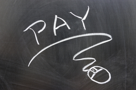 Pay word and mouse sign drawn on chalkboard photo