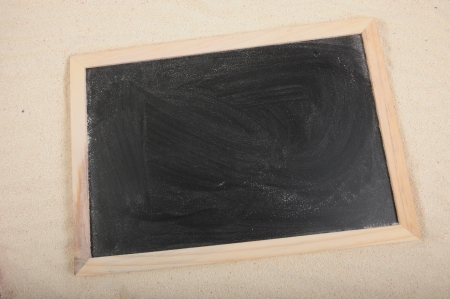Blackboard with wooden frame border on the sand Stock Photo - 14635820