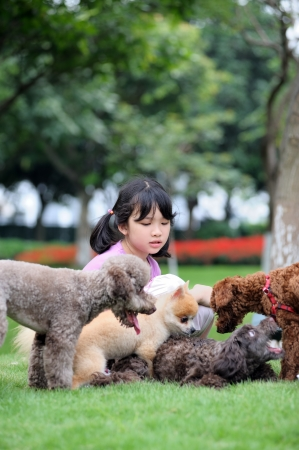 dog rock: Asian kid sitting and playing with group of dogs on the lawn