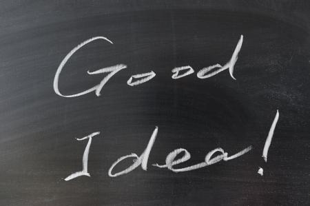 Good idea words written on chalkboard Stock Photo - 15685370