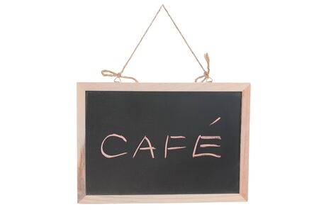 Cafe word on blackboard isolated against white Stock Photo - 15685249