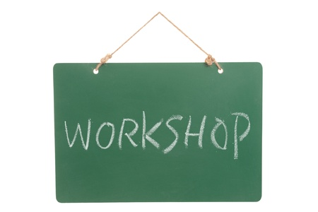 Workshop word on green board hanging by a  rope Stock Photo - 15685271