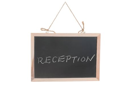 Reception word on blackboard hanging by rope isolated against white Stock Photo - 15685247
