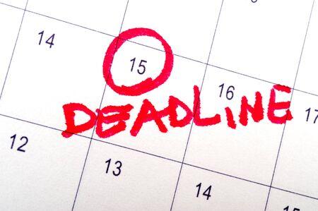 Deadline word written on the calendar photo
