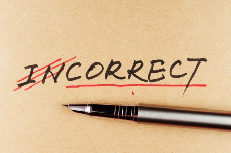 correction: amending incorrect word and changing it  to correct using a pen