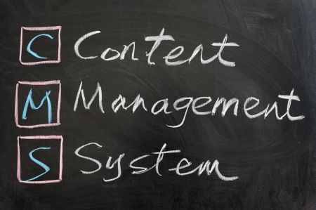 resource management: CMS,Content management system, written on the chalkboard