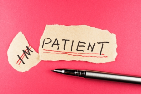 patience: Alter impatient word and changing it  to patient Stock Photo