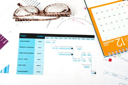 gantt: Gantt diagram printed on white paper with glasses and calendar on it Stock Photo