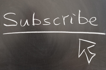subscribe: Subscribe and mouse pointer drawn on chalkboard