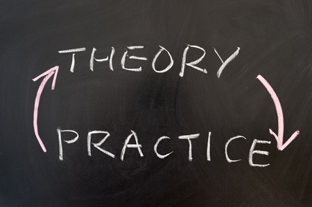practical: Theory and practice words written on the chalkboard Stock Photo