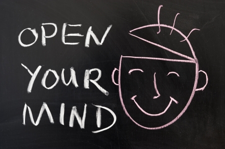 open minded: Open your mind concept chalk drawing on the blackboard