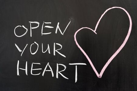 open your heart: Open your heart concept drawn on chalkboard