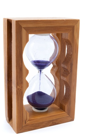 elapsed: Hourglass close up view on white background Stock Photo