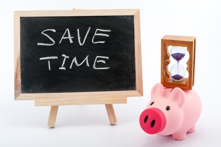 elapsed: Save time concept image with piggy bank, hourglass and blackboard on white background Stock Photo