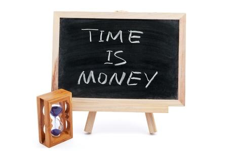 elapsed: Time is money saying written on blackboard