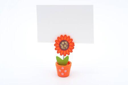 Blank white paper on sun flower pot clip Stock Photo - 17071882