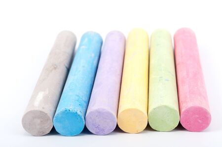 white chalks: Group of colorful chalks on white background Stock Photo