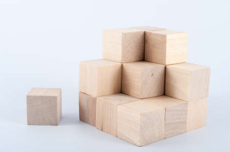 establishes: group of wooden blocks on white background Stock Photo