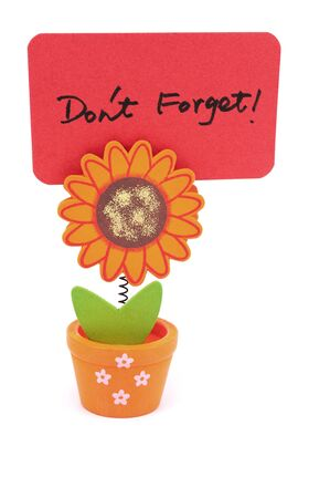 Don't forget words written on red paper of sun flower pot clip Stock Photo - 17385364
