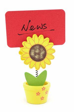 News word written on red paper of sun flower pot clip Stock Photo - 17385377