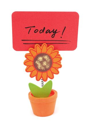 Today word written on red paper of sun flower pot clip Stock Photo - 18286939