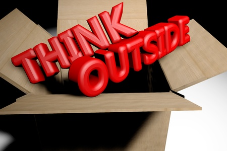 Think outside the box concept 3d rendered image photo