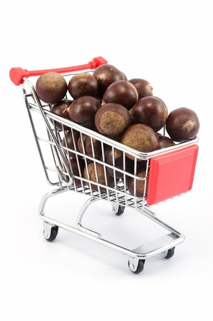 Shopping cart full of chestnut nuts Stock Photo - 18286931