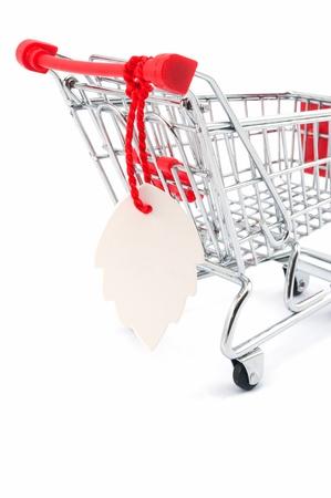 hung: Blank tag hung on a shopping cart