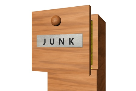 junk mail: 3D rendered image of drawer with Junk text on it