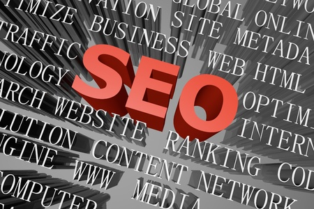 3D rendered word cloud of SEO concept Stock Photo - 18656689