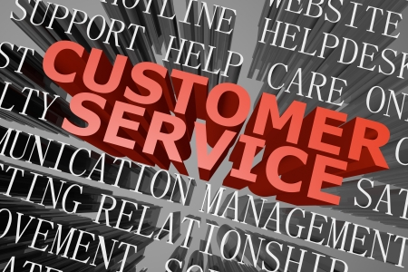 3D rendered word cloud of customer service concept photo