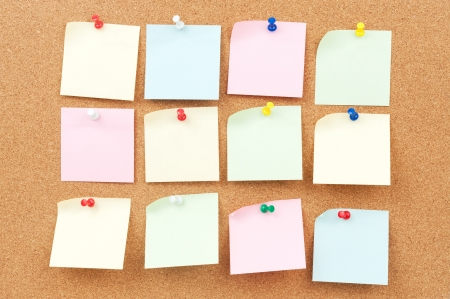 Group of thumbtack and note paper on corkboard Stock Photo - 18656767