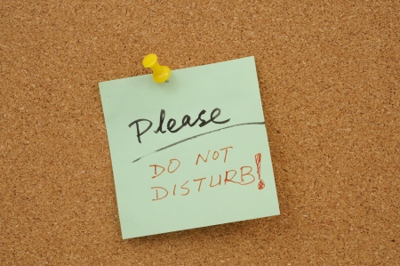Please do not disturb words written on paper and pinned on corkboard photo
