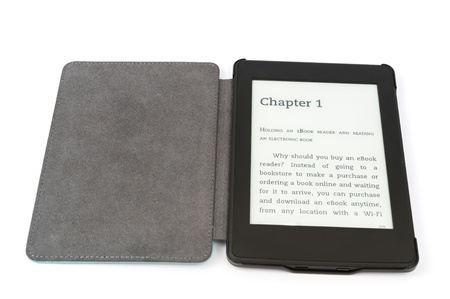 ebook cover: E-book reader with cover isolated on white background Stock Photo