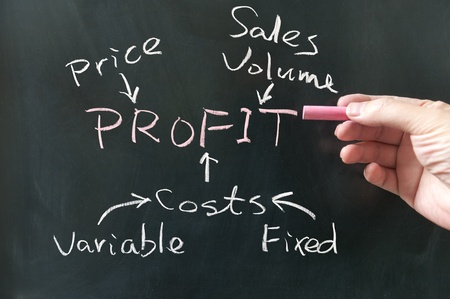 Hand writing business profit concept words on the blackboard Standard-Bild