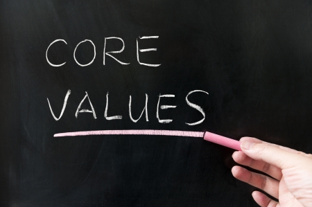 core: Core values words written on blackboard Stock Photo
