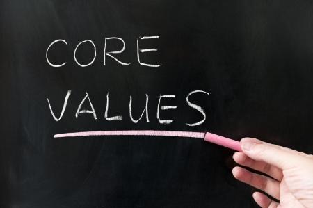 Core values words written on blackboard Stock Photo