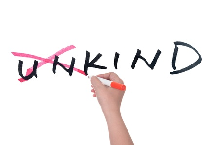 unkind: Conceptional word of from unkind to kind written on white board Stock Photo